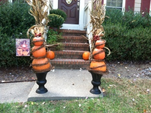 Completed pumpkin topiaries